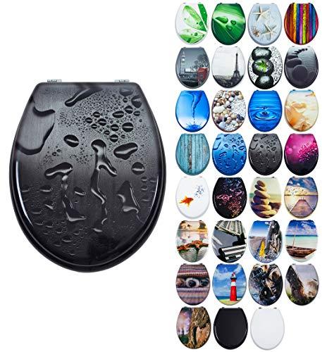 Grafner MDF WC Sitzviele schöne Motive zur Auswahl - stabile Qualität - einfache Montage WC Deckel Klobrille (Black Drops)