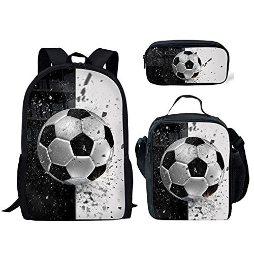 Poceacles - Set di 3 zaini, per bambini, ragazzi e ragazze, con porta matite termiche, Pallone da calcio, colore: bianco e nero, medium