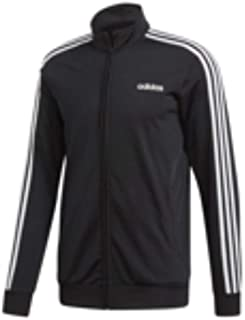 Adidas Men's Essentials 3-Stripes Tricot Track Top, Black (Black/White), Large (DQ3070)