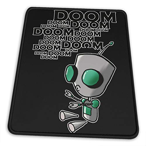 Waterproof Mousepad with Stitched Edges Mouse Pad Invader Zim Gir Doom Logo Mouse Mat Gaming Non-Slip Rubber