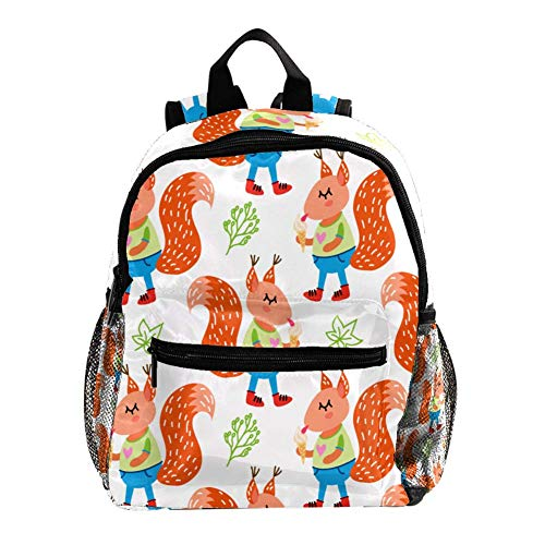 Preschool Backpack Little Kid Toddler Backpacks for Boys and Girls with Chest Strap White Funny Cute Squirrels