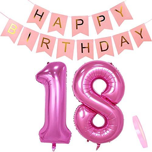 Geburtstagsdeko Rosa für Mädchen: Helium Folien-Luftballons Zahl 18 Pink + Happy Birthday Girlande Deko | Riesen Zahlen-Folien-Ballon |40