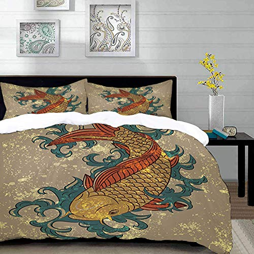Yaoni bedding - Duvet Cover Set, Japanese Grunge Asian Style Oriental Cold Water Koi Carp Fish Aquatic Theme on Distressed Patte,Microfibre Duvet Cover Set 200 x 200cm with 2 Pillowcase 50 X 80cm
