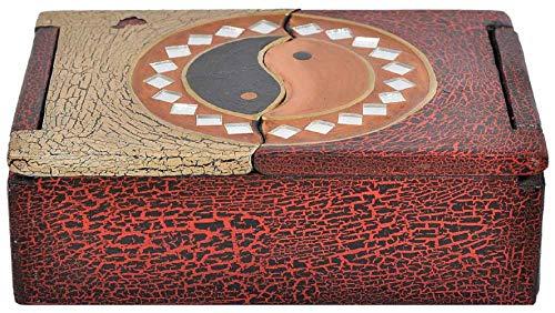Woru Schatulle aus leichten Albesia-Holz, handbemalt, Buddha oder Yin & Yang (Ying Yang)