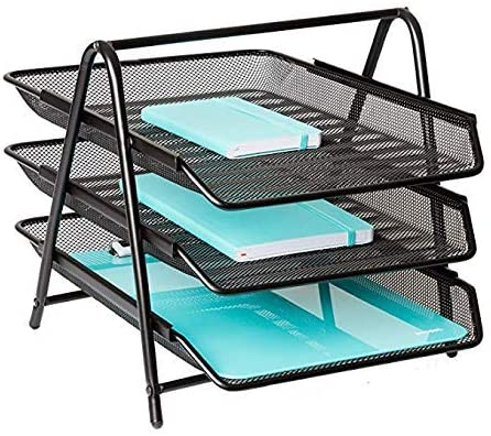 JD9 Metal Mesh 3 Tier Document Tray, File Tray, File Rack for A4 Documents/Files/Papers/folders Holder Desk Organizer...