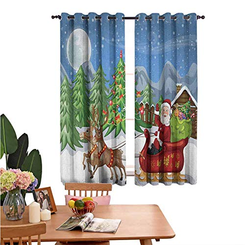 Insulated solid grommet top Room Darkening Wide Curtains Country Landscape at Night with Trees Santa Claus Snowdrift Reindeers Mountains Thermal Insulated Blackout Curtains Set of 2 Panels W55'x L39'