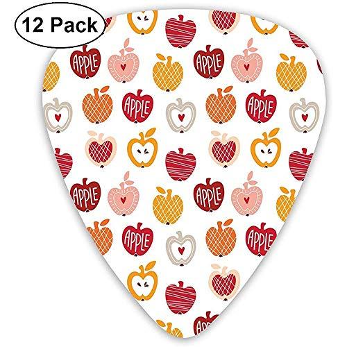 Gitaar Picks 12-Pack, Vegetarische Abstract Horizontale En Diagonale Lijn Patroon Liefde Natuurlijke Voedsel Thema