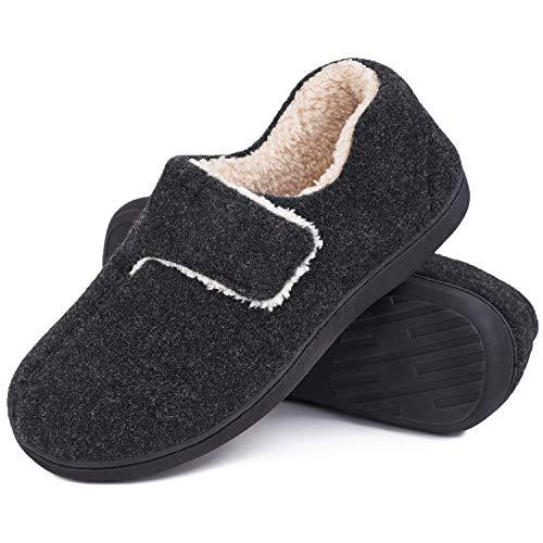 VeraCosy Damen Herren Fuzzy Wool-Like Memory Foam Slippers Geschlossene Fleece-Hausschuhe mit verstellbarem Klettverschluss, Hellschwarz, 44/45 EU