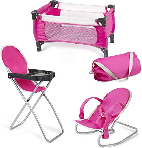 fash n kolor, 3 Piece Baby Doll Accessories Set, Includes - 1 Pack n Play Baby Doll Crib with Carry Bag, 2 Baby High Chair, 3 Bouncer
