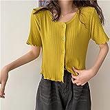 LYHMHZ Camiseta Blanca 2021new Summer Summed V-Cuello con Volantes De Hielo Suave De Manga Corta De Manga Corta Cardigan Top Top Mujeres (Color : Yellow, Size : One Size)