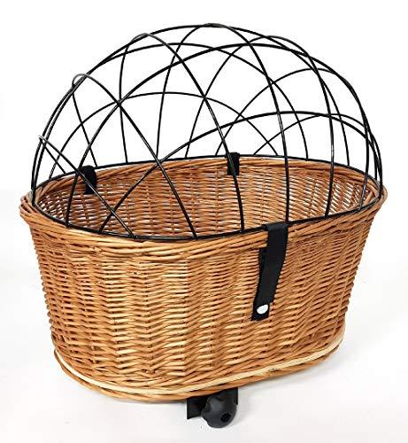 Tigana Tiertransportkorb aus Weide + Gitter für Gepäckträger mit Breite 18-20,5 cm Oval 52x39 cm (N-S)+Kissen+Holz