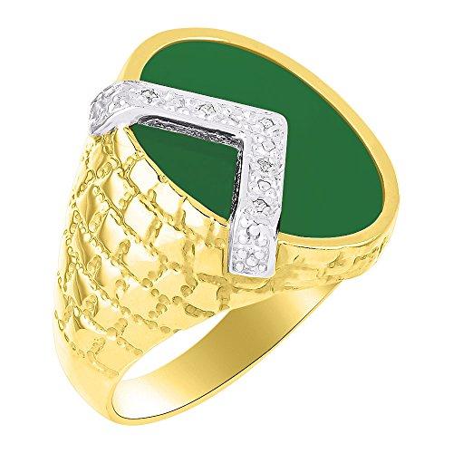 Diamante y Verde Pendientes De Onyx anillo de plata o chapado en oro amarillo plateado de oro