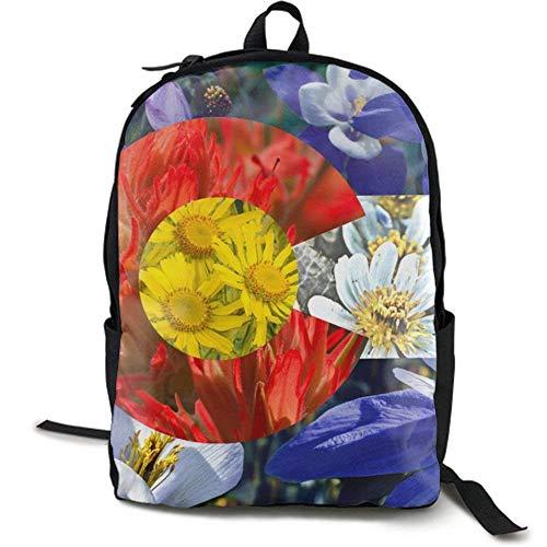 XCNGG Erwachsenen-Vollformat-Druckrucksack Lässiger Rucksack Rucksack Schultasche NiYoung Travel Backpack Laptop Backpack Large Diaper Bag - Colorado Flag Flowers Floral Backpack School Backpack for W
