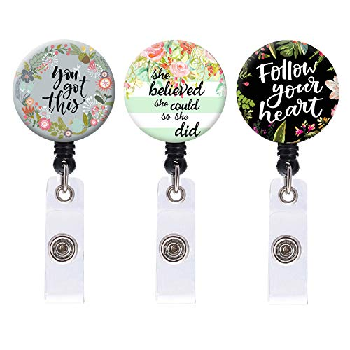 Nurse Badge Reel, Retractable ID Card Badge Holder with Alligator Clip, Name Nurse Decorative Badge Reel Clip on Card Holders, She Believed She Could So She Did, 3 Pack