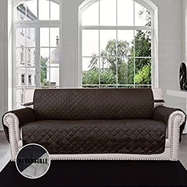 Easy-Going Sofa Covers, Slipcovers, Reversible Quilted Furniture Protector, Water Resistant,Improved Couch Shield with Elastic Straps,Anti-Slip Foams,Micro Fabric Pet Cover Sofa,Chocolate/Beige