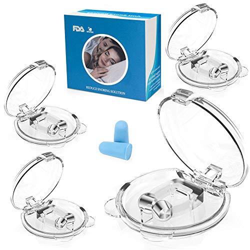 Schnarchstopper,Anti Schnarch Nasenclip Neuartige Nasenklammer gegen Schnarchen,Premium Schnarchen Stopper Mittel Silikon Schnarchschutz mit Magnet (4 Stück)