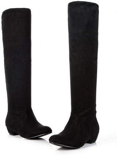Fuxitoggo Stiefel para damen - Stiefel Altas Delgadas Stiefel para damen Stiefel de Caballero Tela elástica con Stiefel hasta la Rodilla Stiefel de Gran tamaño 35-43 (Farbe   schwarz, tamaño   35)