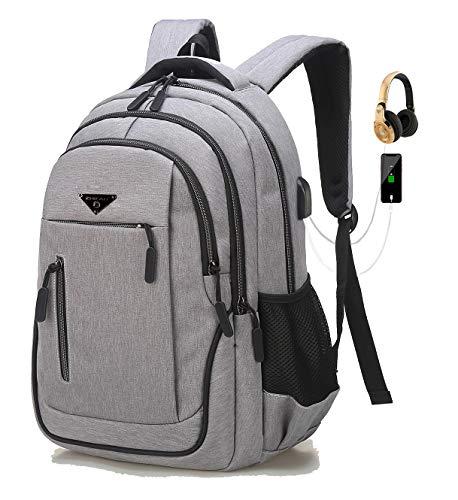 Herren Laptop Rucksack, Rucksack Schule, Anti-Theft Tasche Daypack Mode Schulrucksack Jungen Teenager, 35L Praktischer Reiserucksack, USB Charging Port (01 Grau, 15,6 Zoll)