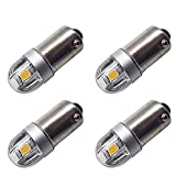 Ruiandsion BA9S LED Bulb BA9 1895 1891 53 57 Warm White 6V LED Bulb 3030 2SMD Chipsets LED Replacement Bulbs for Car Interior Dome Map License Plate Glove Box Lights (Pack of 4)