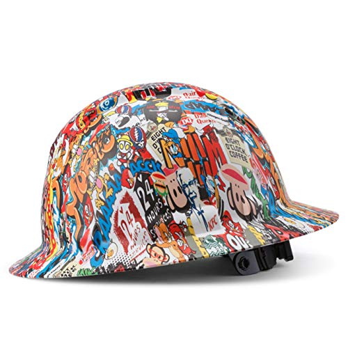 Full Brim Hard Hat Construction OSHA Approved Hardhats, Men Women Safety Helmet, 4 Point, Custom Cartoon Design, by Acerpal, Logorama