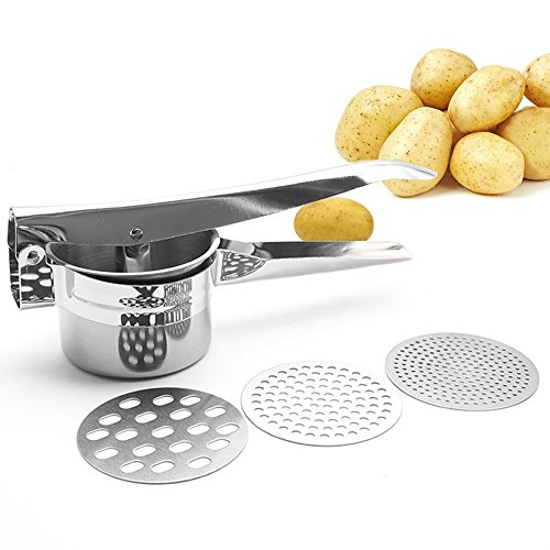 Professional Stainless Steel Potato Ricer Masher Heavy Duty Food Presser for Potatoes Purple Potato Pumpkin Lemon Fruit Juice with 3 Pieces Replaceable Ricing Discs for Coarse & Fine Ricing (Silver)