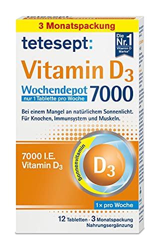 tetesept Vitamin D3 7000 hochdosiert – Mit Vitamin D 3 - bei einem Mangel an natürlichem Sonnenlicht – Für Knochen, Immunsystem & Muskeln – 1 Packung à 12 Tabletten [Nahrungsergänzungsmittel]