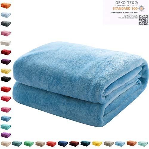 Mixibaby Kuscheldecke Flauschige Wohndecke Fleecedecke Sofadecke Bettüberwurf 220 x 240cm, Farbe:Blau