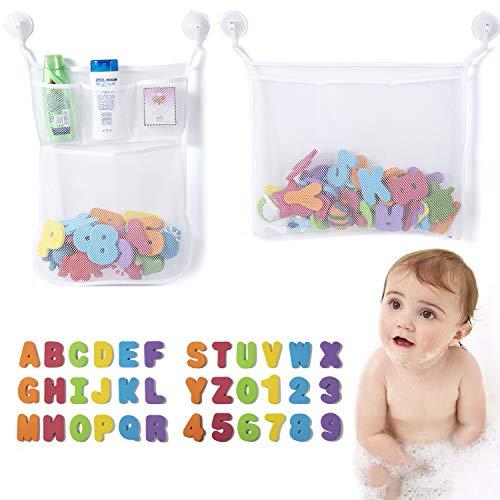 ZWOOS Juguetes para el Baño, 36 Piezas Números y Letras de Baño con 2 Red de Baño Almacenamiento Bolsa de Juguete+ 4 Ganchos Adhesivos para Niños Mayores de 3 Años