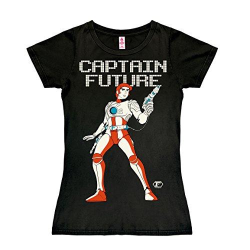 Logoshirt Science-Fiction - Held - Captain Future T-Shirt Damen - schwarz - Lizenziertes Originaldesign, Größe L