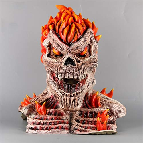 LLWGNZM Mascara-Ghost Rider Cosplay Face Skeleton Red Flame