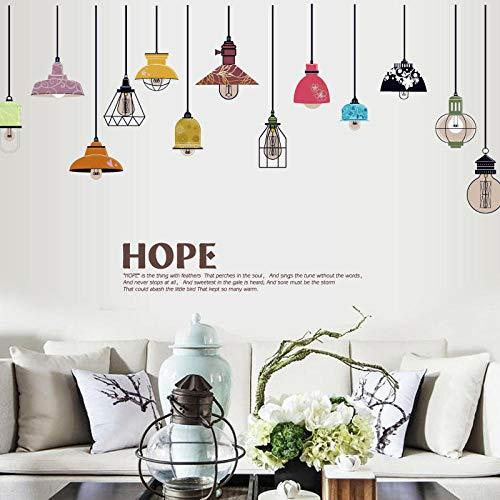 Hoop Kleurrijke Plafondlamp Muurstickers voor Kinderkamers Keuken Woonkamer Behang Koelkast Sticker Muursticker