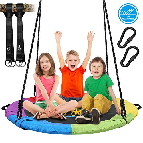 Trekassy 700lb 40 Inch Saucer Tree Swing for Kids Adults Textilene Age-Resistant with 2pcs 10ft Tree Hanging Straps, Steel Frame and Adjustable Ropes--Rainbow