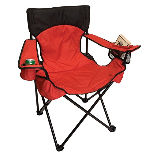 O3 Übergroße Geschlossen, Breiter Sitzfläche Design Faltbar Camping Stuhl mit Reißverschluss Tragetasche, Jungen, Rot, Large