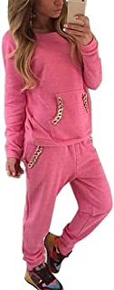 A-LING Women's 2 Piece Chain Pocket Hoodie Pants Set Tracksuit