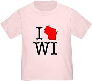I Love WI Wisconsin Toddler T-Shirt Toddler Tshirt
