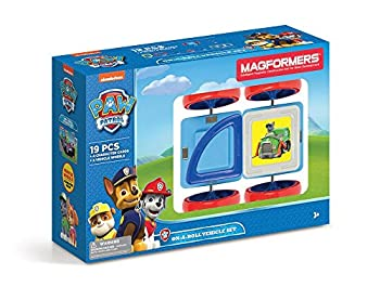 Magformers Paw Patrol 19 Pieces On a roll Vehicle Rainbow Colors Educational Magnetic Geometric Shapes Tiles Building STEM Toy Set Ages 3+