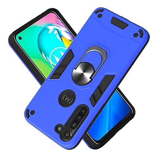 Armure Coque Motorola Moto G8 Power, Boîtier PC + TPU Double Layer Housse résistant aux Chocs avec Support à Anneau Rotatif à 360 degrés (Bleu foncé)