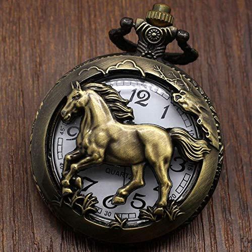 SHUMEISHOUT El Nuevo Reloj de Bolsillo Caballo de Bronce Collar de Cuarzo Hueco Colgante para Mujer Regalos para Hombres