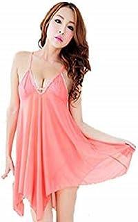 Fashion Pink Lingerie Ladies Nightwear Sleepwear Slip Dress For Women(h006b)