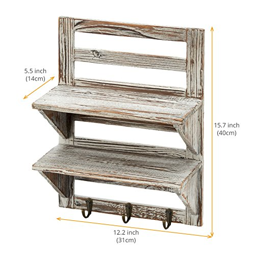 EZOWare 2-Tier Storage Wall Mount Floating Shelves, Rustic Wood Wall Decor Art with Key Holder Organizer Rack