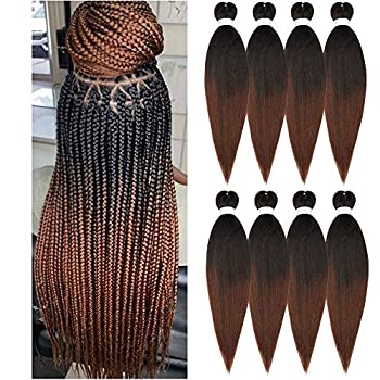 Pre-stretched Braiding Hair Extension Ombre Natural Black Brown Professional Crochet Braiding Hair 24 Inch 8 Packs Hot Water Setting Perm Yaki Synthetic Hair for Twist Braids  1B/30