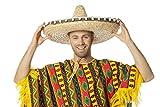 Jannes 9621 Sombrero Hut Mariachi Mexiko-Hut XXL Riesen-Krempe Stroh-Hut mit Bömmlen Einheitsgröße Beige