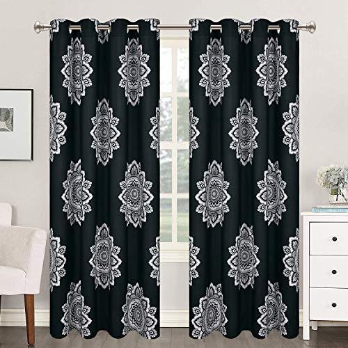 VERTKREA Black Flower Medallion Window Curtain, Mandala Window Curtains, Bohemian Grommet Window Curtain, Floral Boho Drapes, 52 x 63 Inches, Black and White