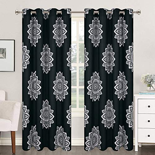 VERTKREA Black Flower Medallion Window Curtain, Mandala Window Curtains, Bohemian Grommet Window Curtain, Floral Boho Drapes, 52 x 63 Inches, Black and White