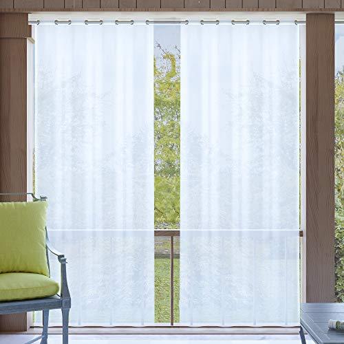 Clothink Outdoor Vorhang 132x305cm mit Ösen Transparent Weiss(1 Stück)- mit Raffhalter - Wasserabweisend Schmutzabweisend Blickdicht Sonnenschutz Sichtschutz für Veranda Terrasse Balkon