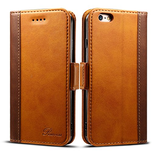 Rssviss for iPhone 6 Plus Case Wallet Premium PU Leather Flip Wallet Case with Card Slot, Cash Clip, Stand Holder and Magnetic Closure for iPhone 6 6s Plus (Orange, 5.5 inch)