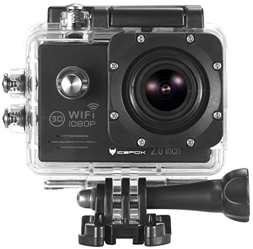 """icefox Action Sports Camera (R) Waterproof WiFi Action Camera 12MP 1080P HD 2.0"""" LCD Diving Helmet Sports Car Camera with Free Accessories Kit (Black)"""