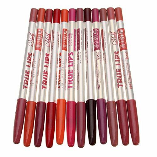 Cosanter 12 Pcs/Set Femmes Professionnelle Imperméable À L'eau Lèvre Crayon Stylo Longue Durée de Maquillage 12 Couleurs 15 CM Pro Cosmétique