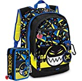 Gopop Schoolpack Zaino Scuola Gamer 43x31x17(+9) cm + Astuccio 3 Zip Completo
