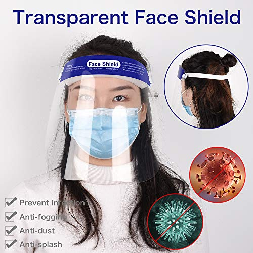 5 Pcs Full Face Shield, Futanwei Reusable Adjustable Face Shield Anti-Fog Protect Eyes and Face with Protective HD Clear Visor Elastic Band and Comfort Sponge, Face Shield for women and men